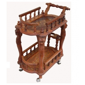 Brown Wood Handicrafts Service Trolley For Serving Foods