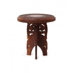 Wooden Foldable Table With Handicrafts Beautiful Design 18 Inches