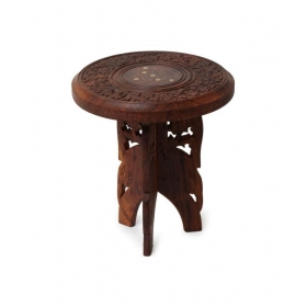 Wooden Foldable Table With Handicrafts Beautiful Design 21 Inches