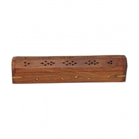 Wooden Handicraft Incense Sticks Holder - Brown
