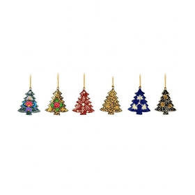 Multicolur Paper Mache Handcrafted Christmas Tree Shaped Hanging - Set Of 6