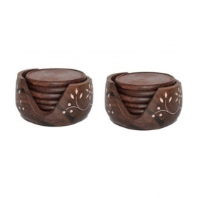 Wooden Handicraft Tea Coaster Set Of 2