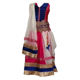 Pink Cotton Lehenga For Girls