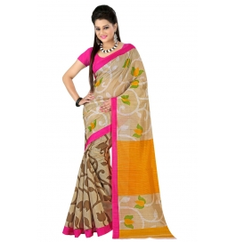 Lucky Infra Multi Silk Printed Unstitched Saree