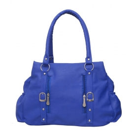 Blue Faux Leather Shoulder Bag