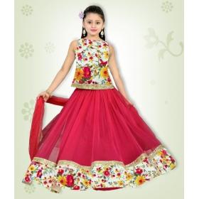 Pink Net Comfortable Bhaglpury Semistitched Lehenghas With Free Size Bhalpury Blouse