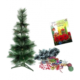 Christmas Tree-2 Ft With X-mas Hangings Stars, Bells And Gifts