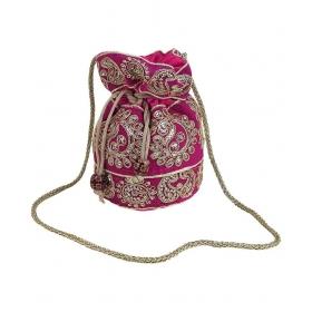Pink Silk Potli