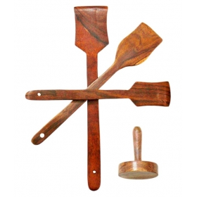 Desi Karigar Wooden Sheesham Ladel Set Of 3 +1 Masher