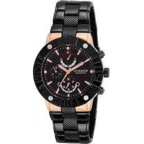 Curren Men's Black Dial Black Metal Strap Analog Wrist Watch