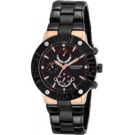Curren Men's Black Dial Black Metal Strap Analog Wrist Watch