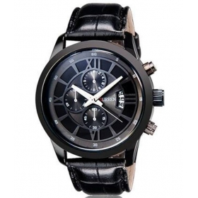 Curren Men Black Leather Watch Date Display Watch
