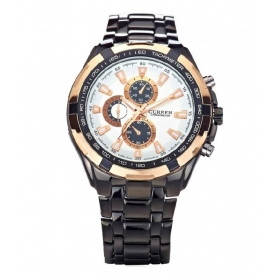 Curren Men Black And Rose Gold Metal Planet Ocean Analog Watch
