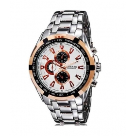 Curren Men Silver And Rose Gold Metal Planet Ocean Analog Watch