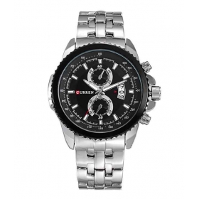 Curren Men Silver Black Metal Date Planet Ocean Analog Watch