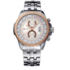 Curren Men Silver Rose Gold Metal Date Planet Ocean Analog Watch