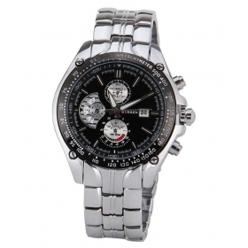Curren Silver Black  Metal Analog Watch With Date Display For Men