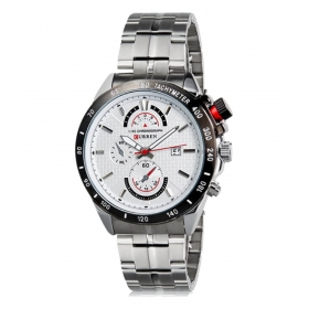 Curren White Dial Silver Steel Watch With Date For Men