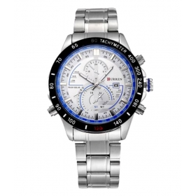 Curren White And Blue Dial Silver Steel Watch With Date For Men