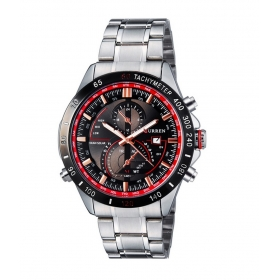 Curren Black And Red Dial Silver Steel Watch With Date For Men
