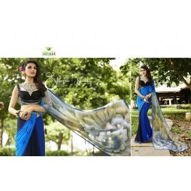 Kala Boutique Georgette Printed Blue Saree