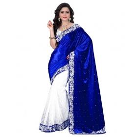 Kala Boutique Velvet Handcrafted Blue Creation Saree
