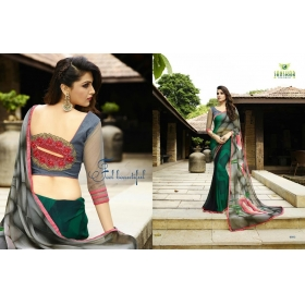 Kala Boutique Georgette Printed Grey & Green Saree