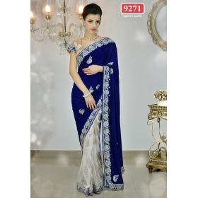 Sas Creations Net Blue Saree