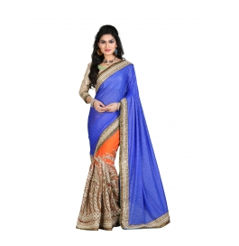 Sas Creations Fab Super Georgette Blue Saree