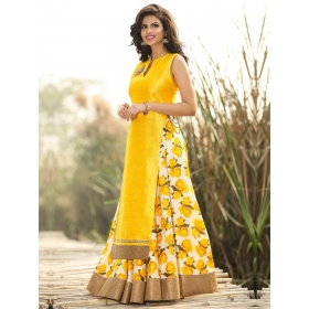 Sas Creations Yellow Dupion Silk Suit Dress