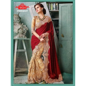 Sas Creations Net Red Saree