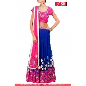 Sas Creations Superb Net Blue Lehenga