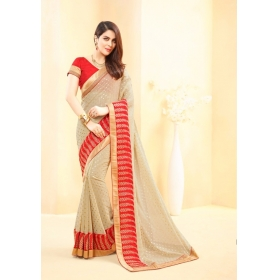 Sas Creations Georgette Cream Saree