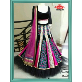 Sas Creations Super Georgette Multi Lehenga
