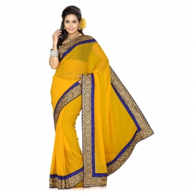 First Loot Yellow Color Chiffon Saree