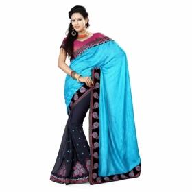 Firozi And Blue Color Heavy Resham Jari Work Jacquard And Chiffon Saree