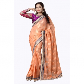 Ten Color Embroidered Party Wear Jacquard Brasso Saree