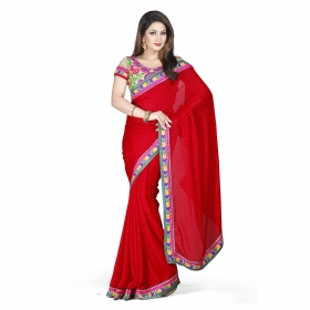 First Loot Red Maroon Color Satin Saree