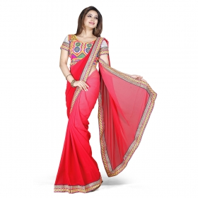 First Loot Red Color Georgette Saree