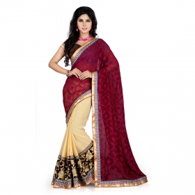 Maroon And Chikoo Color Heavy Resham Zari Work Georgette And Jacquard Saree