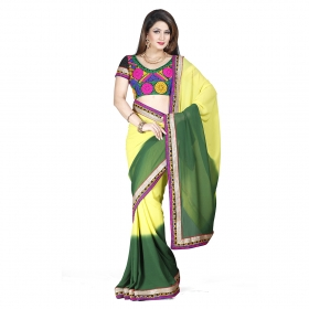 First Loot Yellow And Green Color Georgette Saree