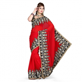 First Loot Red Color Chiffon Saree