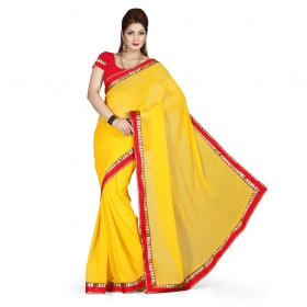 First Loot Yellow Color Chiffon Saree