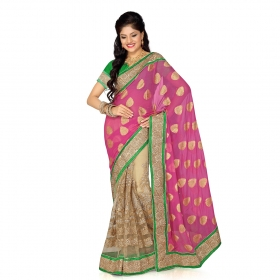 Firstloot Pink And Beige Viscose Butti And Net Embroidered Saree