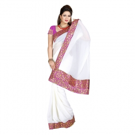 First Loot White Color Chiffon Saree