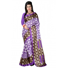 First Loot Printed Purple Color Bhagalpuri Silk Saree