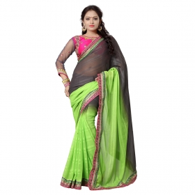 Grey And Green Color Embroidered Party Wear Jacquard Saree