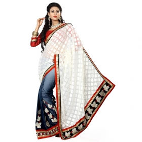 Cream And Blue Color Heavy Resham Jari Work Jacquard And Georgette Saree