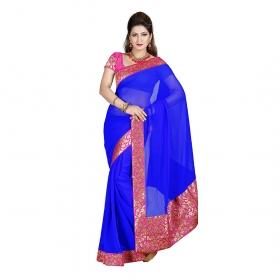 First Loot Blue Color Chiffon Saree