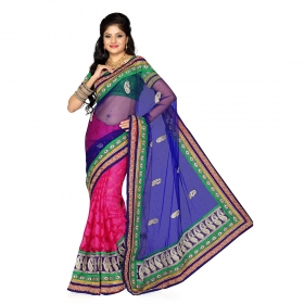 Firstloot Fushia And Blue Net Jacquard And Net Embroidered Saree
